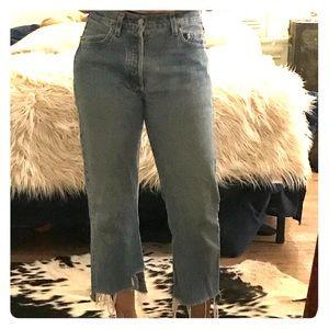 Vintage 501 Blue Jeans Cut Crop Hem sz 30